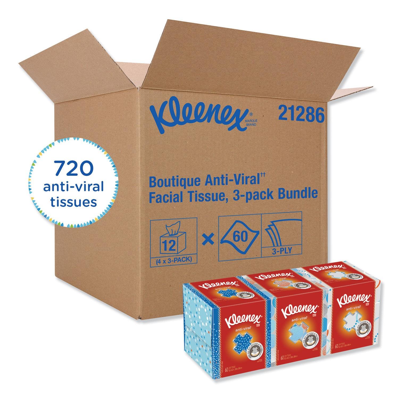 Kleenex Boutique Anti-Viral 3-Ply Facial Tissue, Pop-Up Box, 12 Boxes/Carton