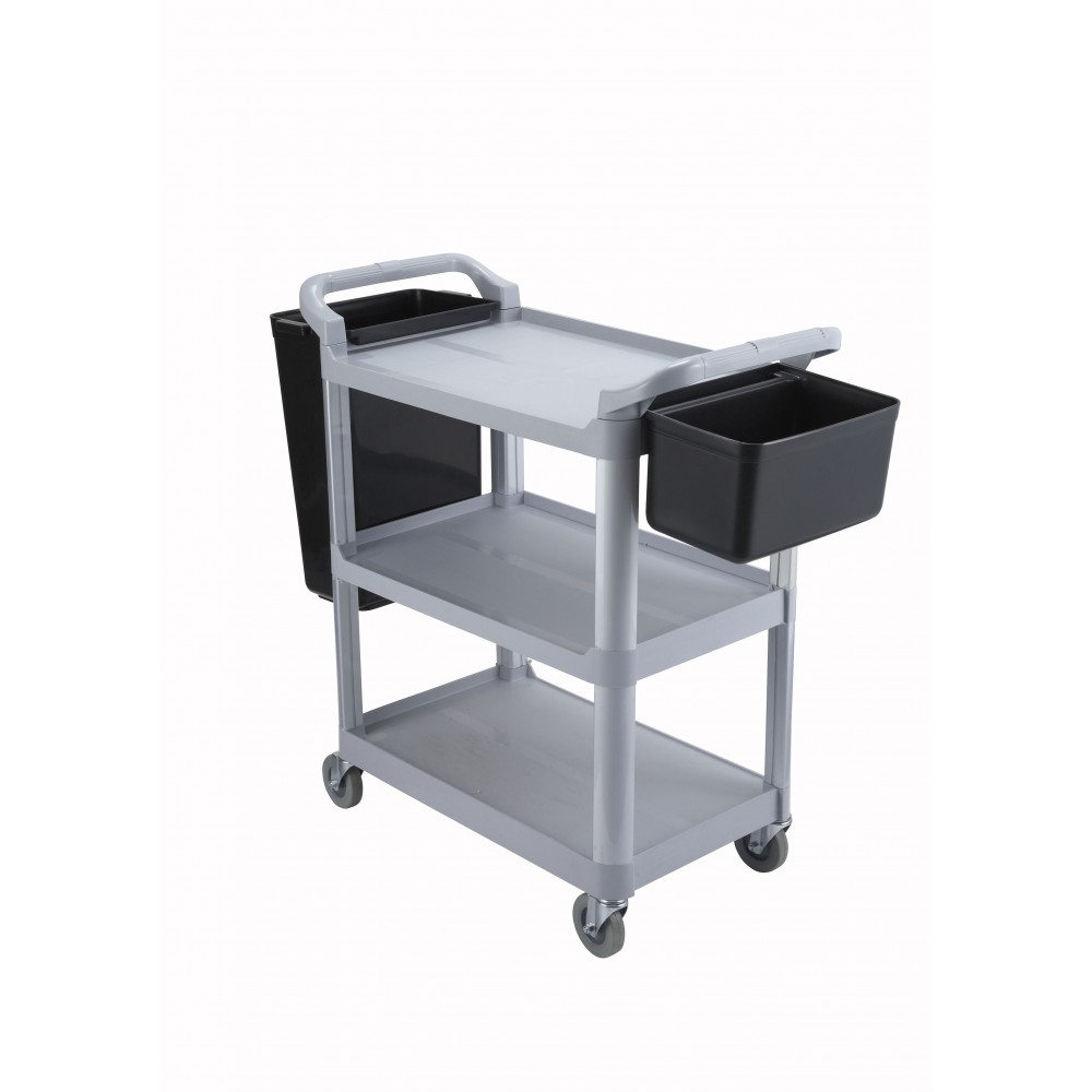 "Winco UC-2415G 3-Tier Grey Plastic Utility Cart 33-1/4"" x 17"" x 37-1/2"""
