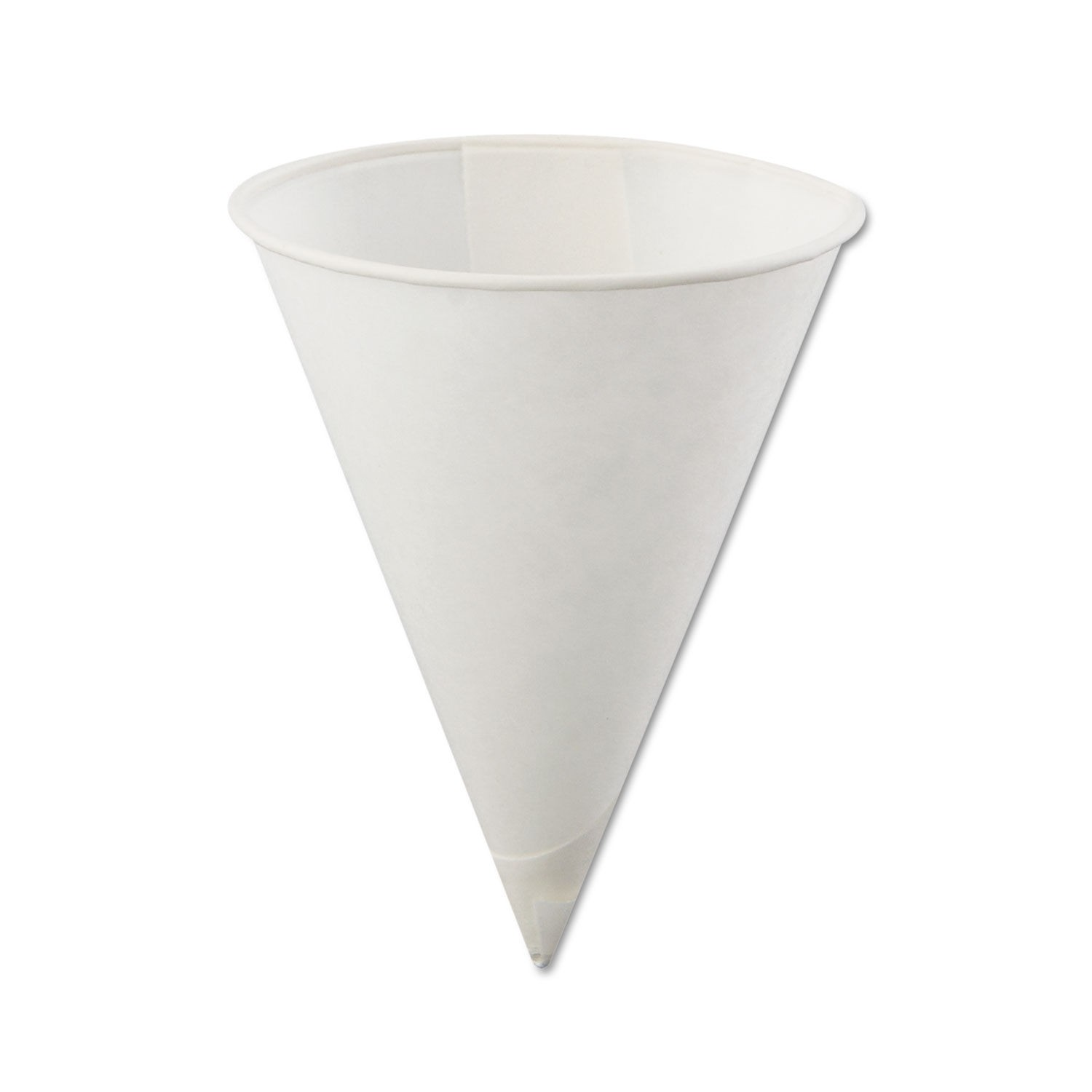 Konie Cups International Poly-Bag Rolled-Rim Paper Cone Cups, 4oz, White (Box of 5000)