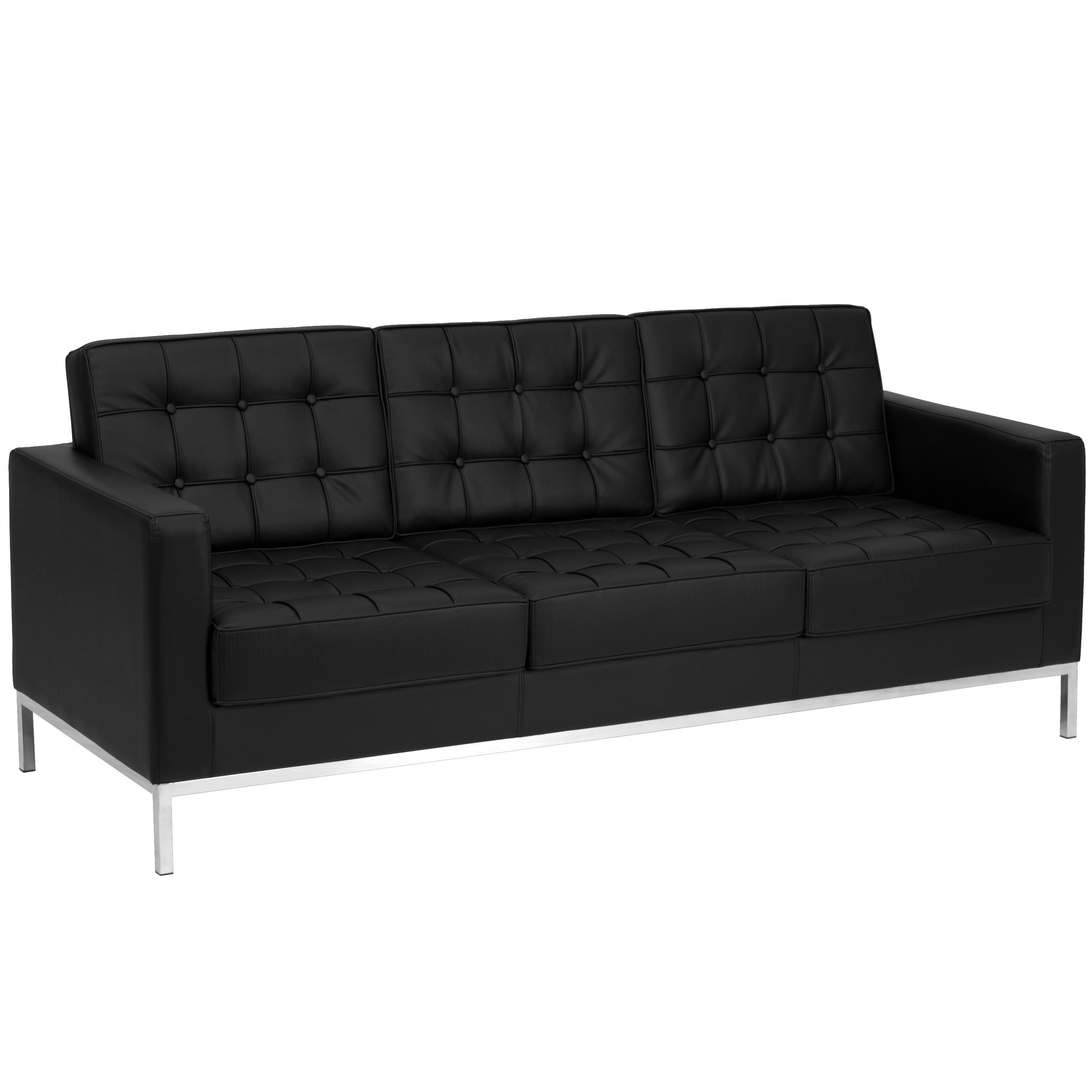 Flash Furniture ZB-LACEY-831-2-SOFA-BK-GG Lacey Series Contemporary Black Leather Sofa with Stainless Steel Frame