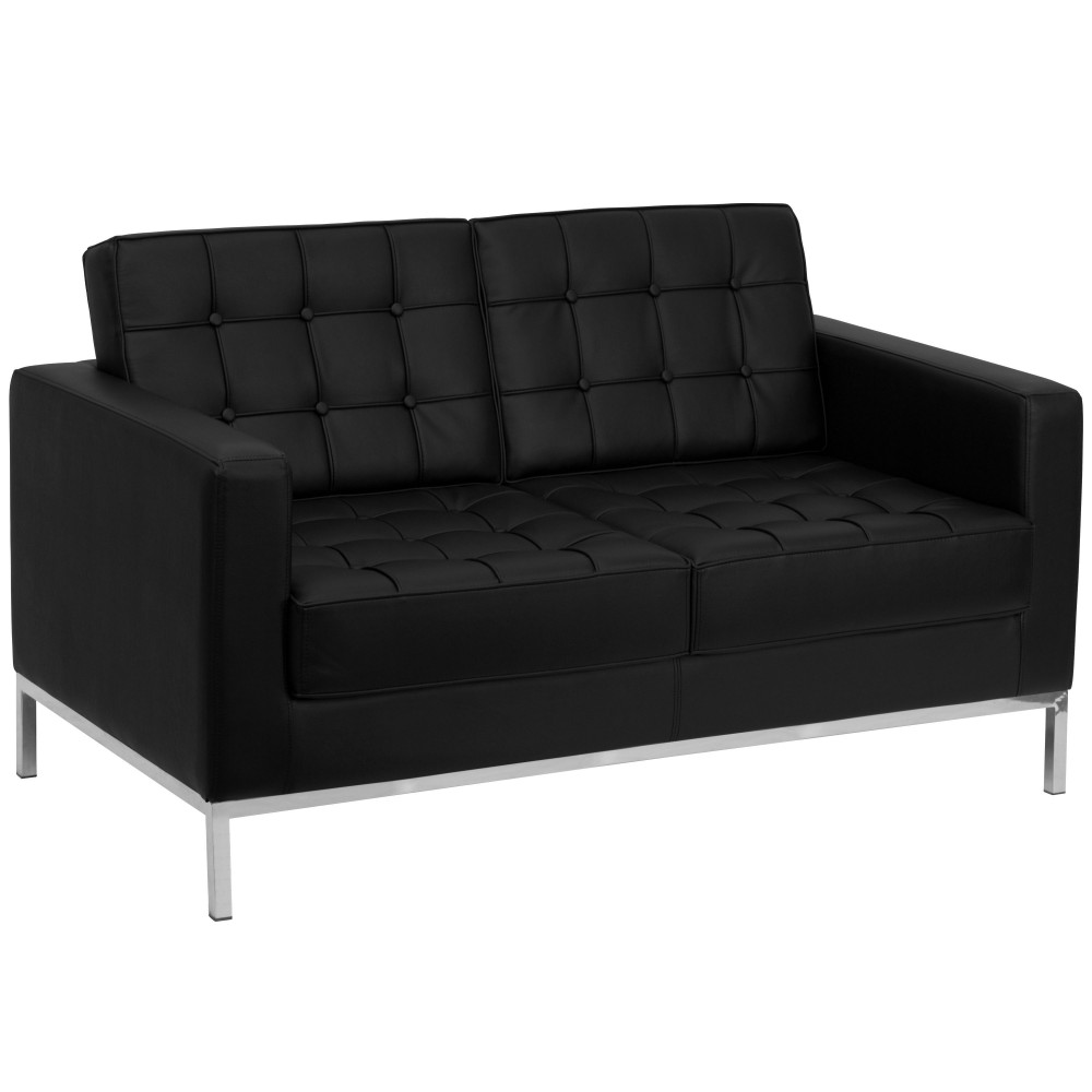 Flash Furniture ZB-LACEY-831-2-LS-BK-GG Lacey Series Contemporary Black Leather Love Seat with Stainless Steel Frame