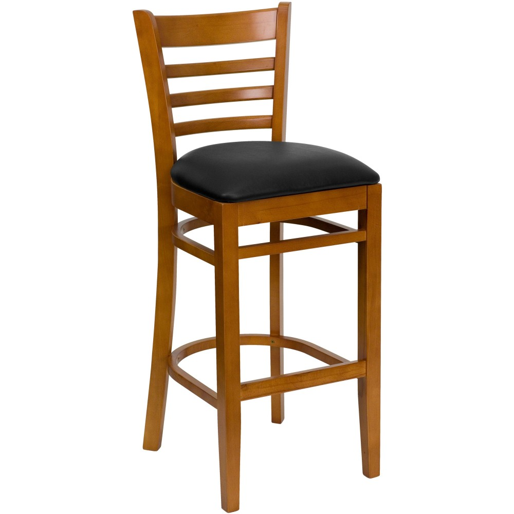 Ladder Back Cherry Wood Bar Stool with Black Vinyl Seat
