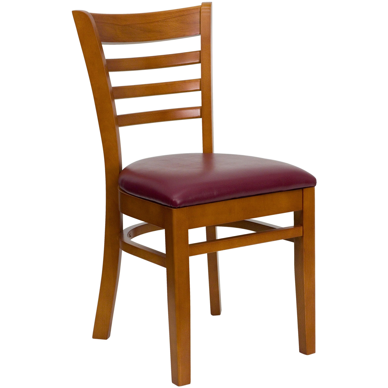 Flash Furniture XU-DGW0005LAD-CHY-BURV-GG Ladder Back Cherry Wood Chair with Burgundy Vinyl Seat