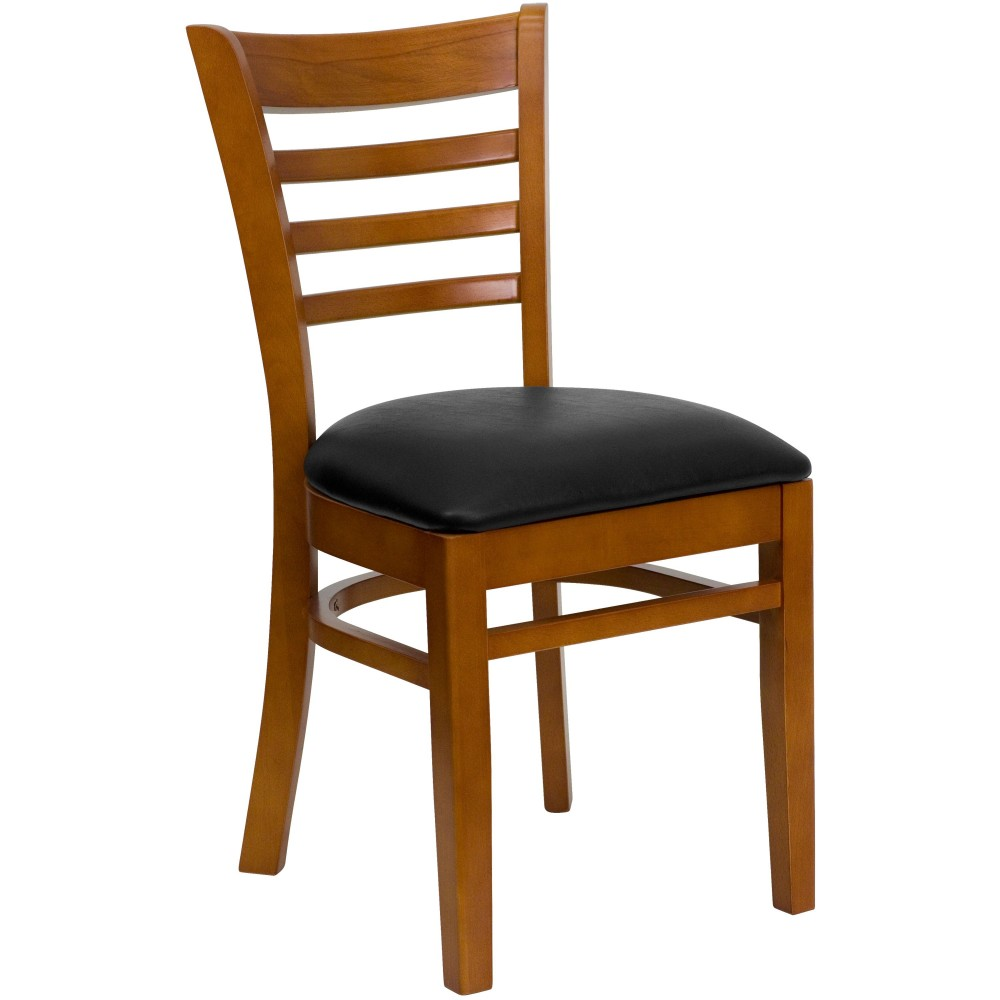 Ladder Back Cherry Wood Chair with Black Vinyl Seat