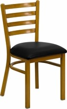 Ladder Back Hand Painted Natural Finish Metal Restaurant Chair with Black Vinyl Seat