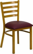 Ladder Back Hand Painted Natural Finish Metal Restaurant Chair with Burgundy Vinyl Seat