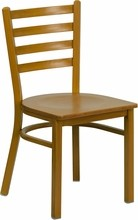 Ladder Back Hand Painted Natural Finish Metal Restaurant Chair with Natural Wood Seat