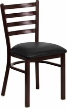 Ladder Back Hand Painted Walnut Finish Metal Restaurant Chair with Black Vinyl Seat