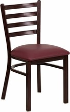 Ladder Back Hand Painted Walnut Finish Metal Restaurant Chair with Burgundy Vinyl Seat