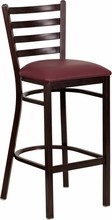 Ladder Back Hand Painted Walnut Finish Metal Restaurant Barstool with Burgundy Vinyl Seat