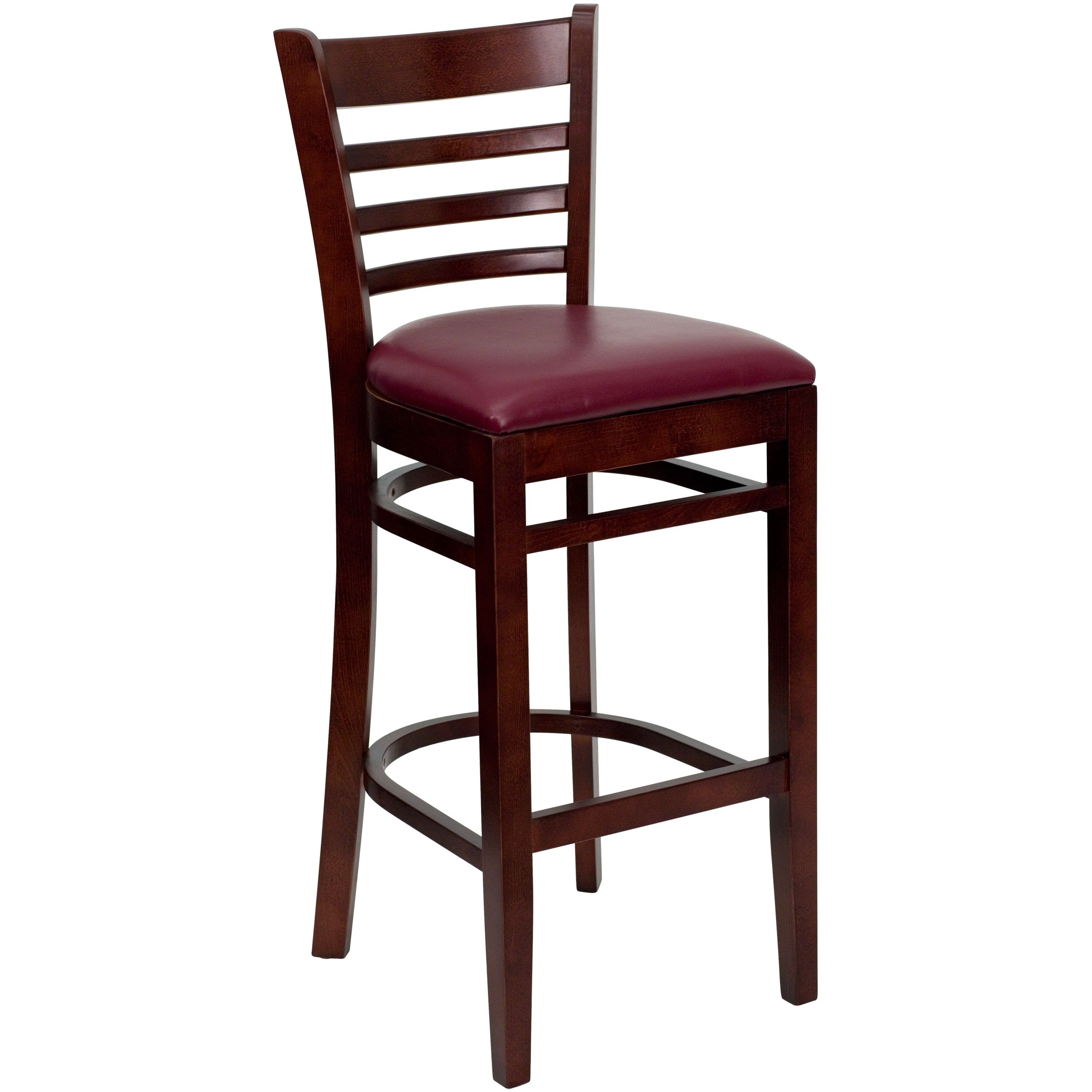 Ladder Back Mahogany Wood Bar Stool with Burgundy Vinyl Seat