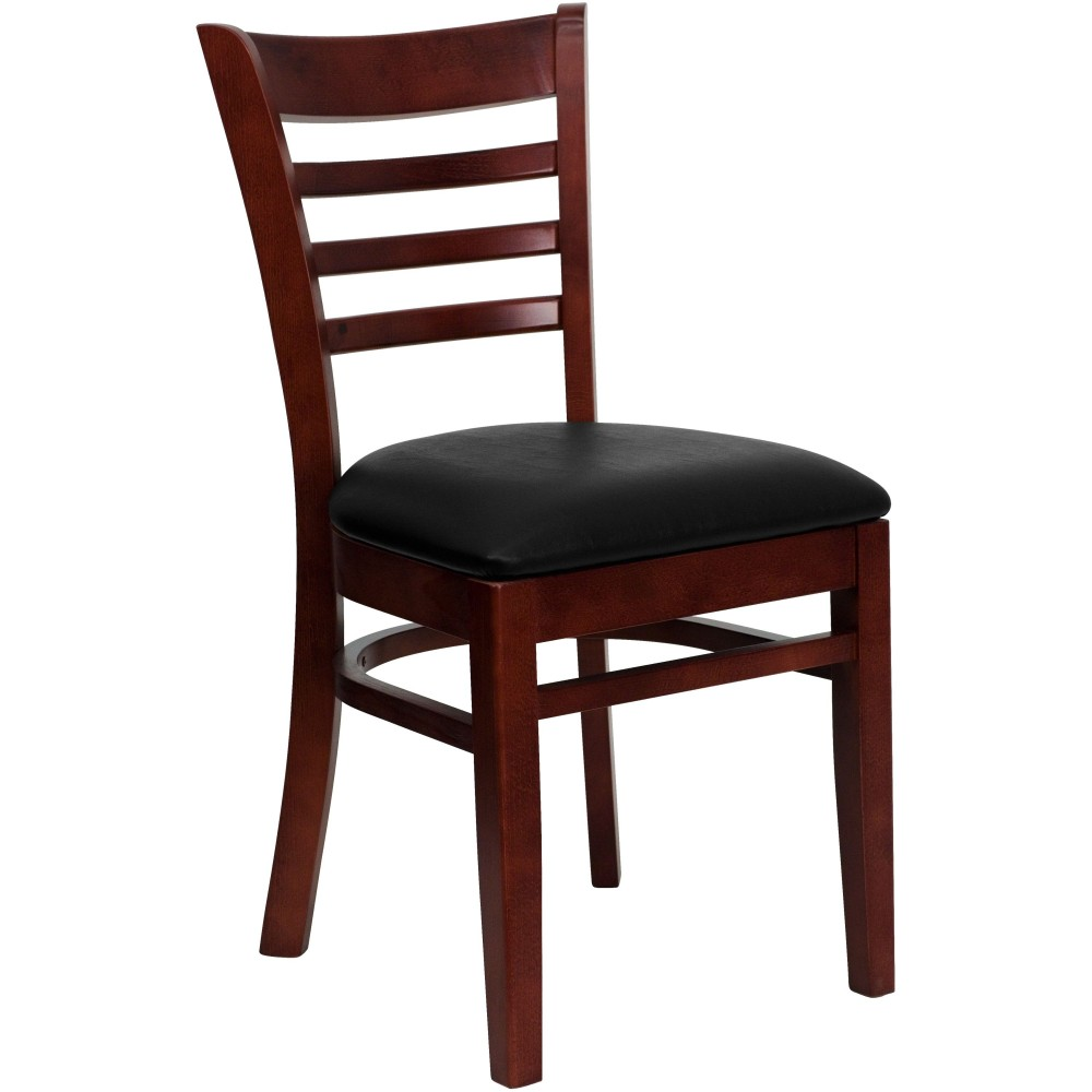 Ladder Back Mahogany Wood Chair with Black Vinyl Seat