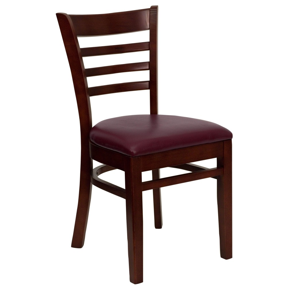 Ladder Back Mahogany Wood Chair with Burgundy Vinyl Seat