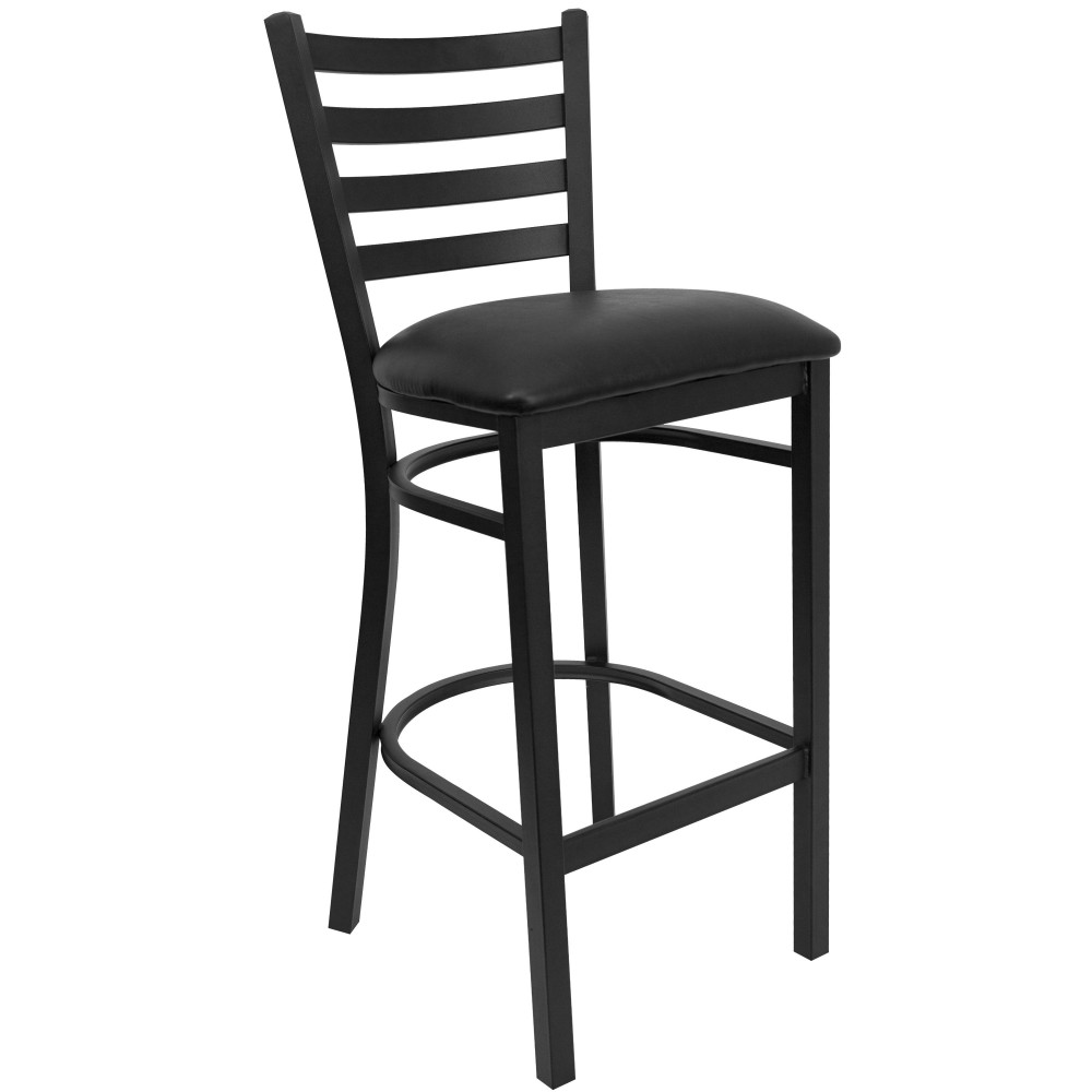 Ladder Back Metal Restaurant Barstool with Black Vinyl Seat - Black Powder Coat Frame