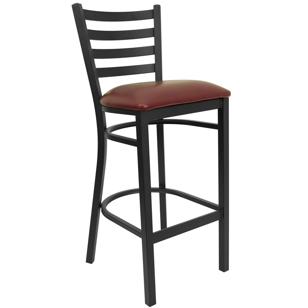 Ladder Back Metal Restaurant Barstool with Burgundy Vinyl Seat - Black Powder Coat Frame