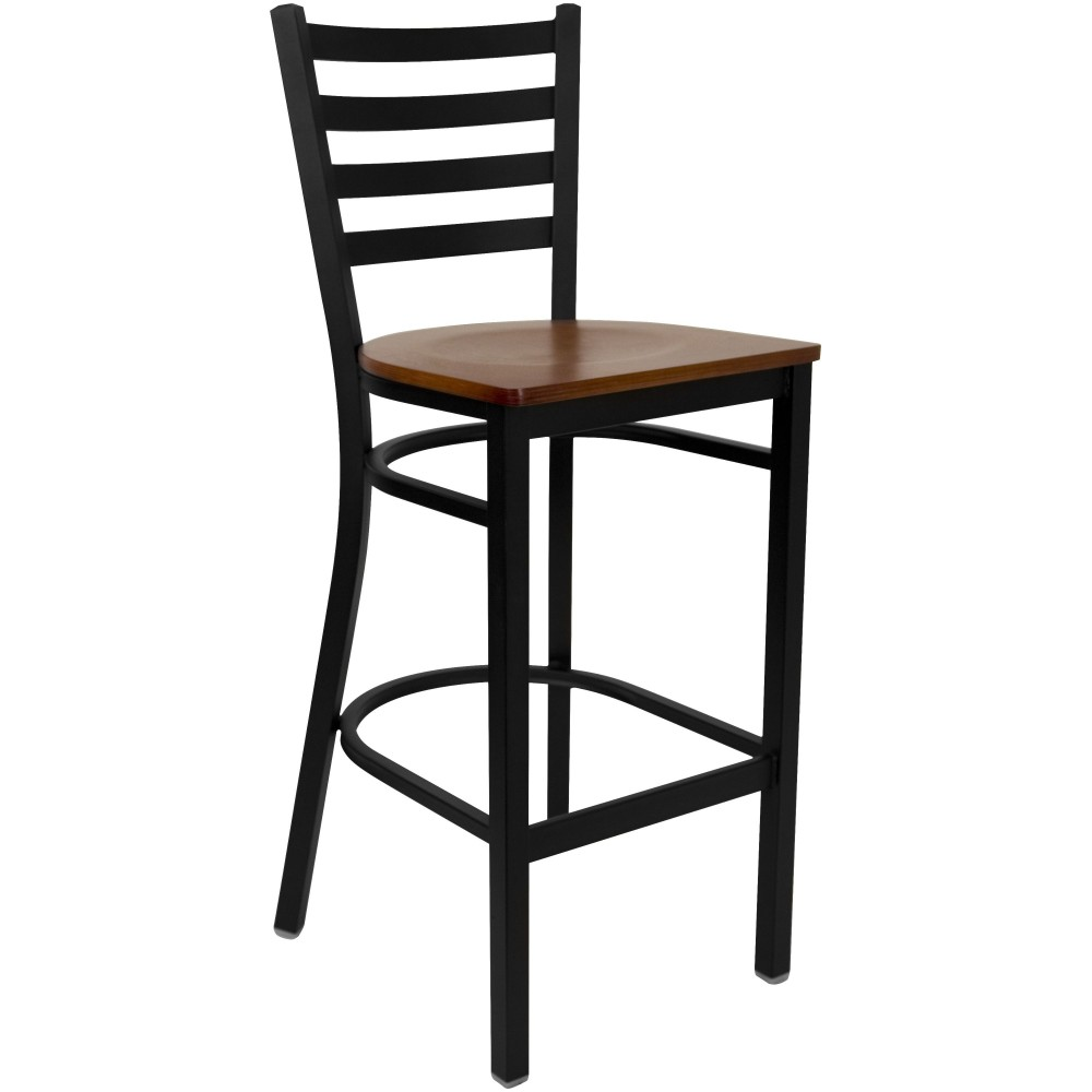 Ladder Back Metal Restaurant Barstool with Cherry Wood Seat - Black Powder Coat Frame