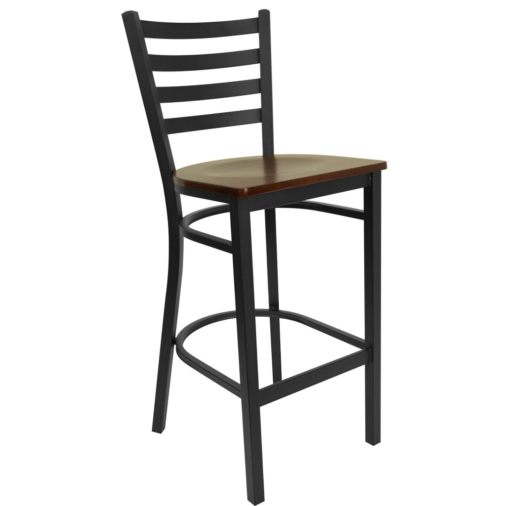 Ladder Back Metal Restaurant Barstool with Mahogany Wood Seat - Black Powder Coat Frame