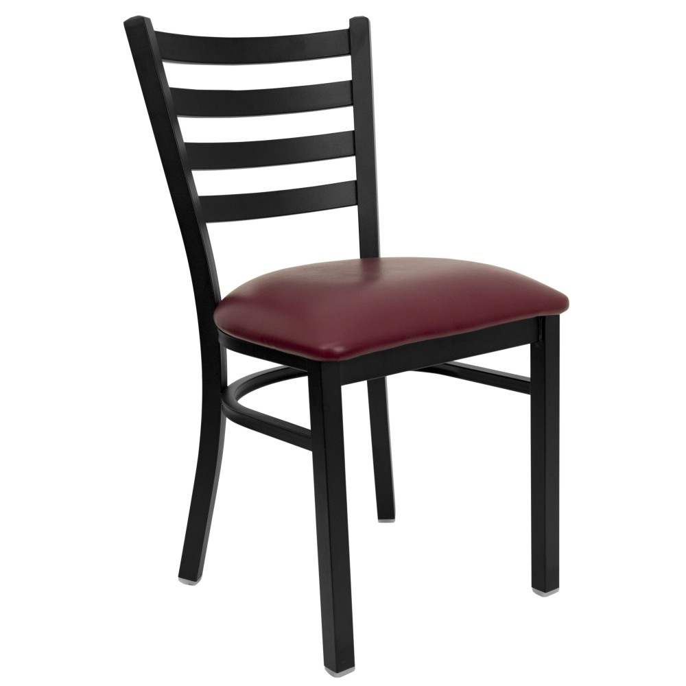 Ladder Back Metal Restaurant Chair with Burgundy Vinyl Seat - Black Powder Coat Frame