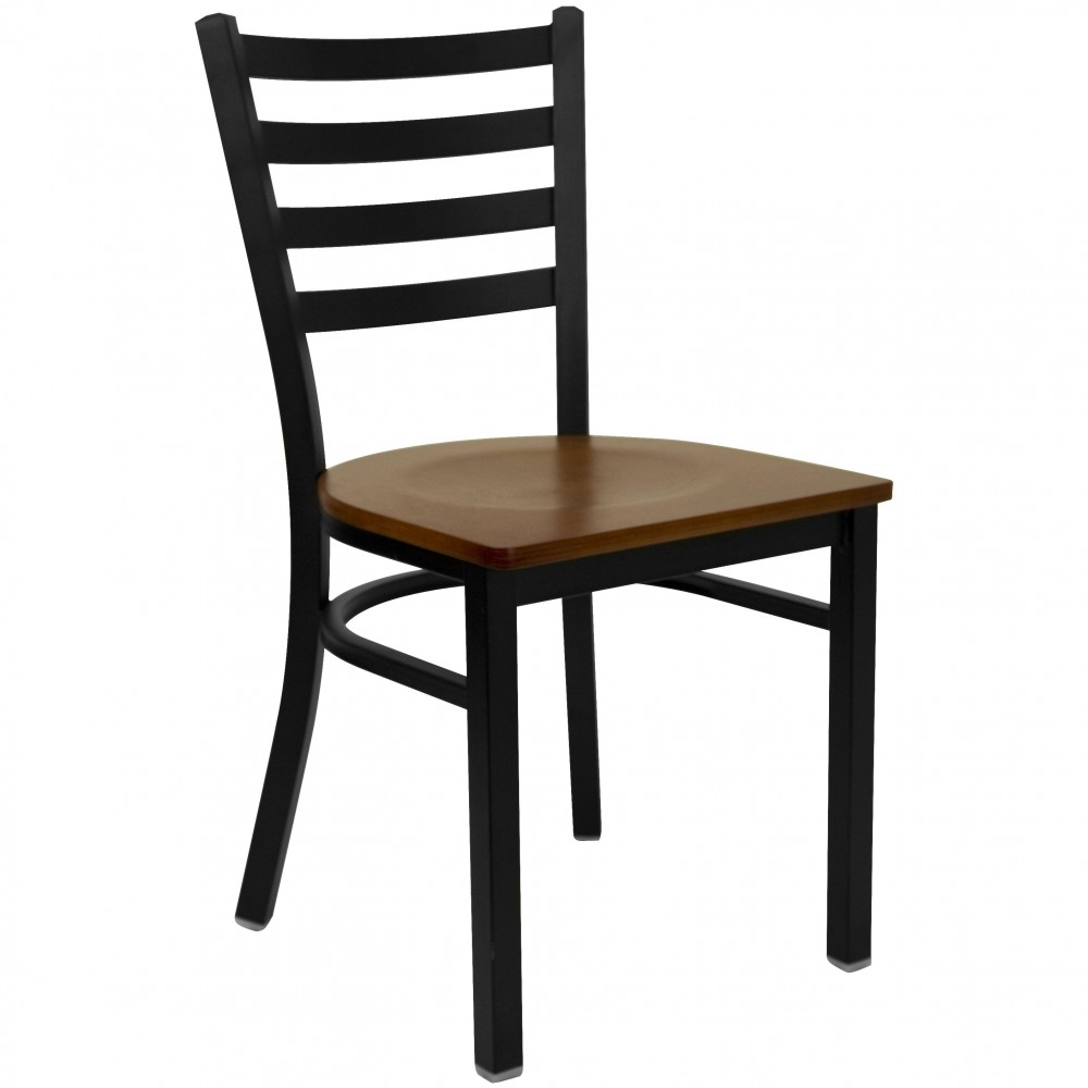 Ladder Back Metal Restaurant Chair with Cherry Wood Seat - Black Powder Coat Frame