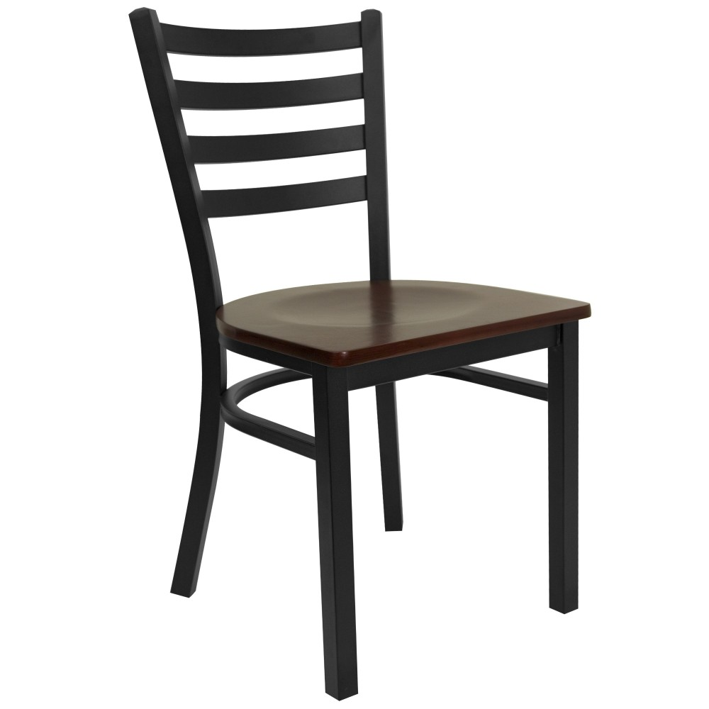 Ladder Back Metal Restaurant Chair with Mahogany Wood Seat - Black Powder Coat Frame