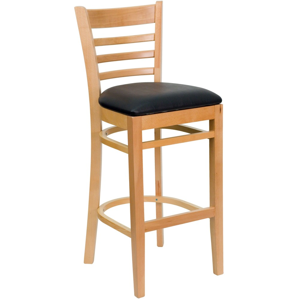 Ladder Back Natural Wood Bar Stool with Black Vinyl Seat