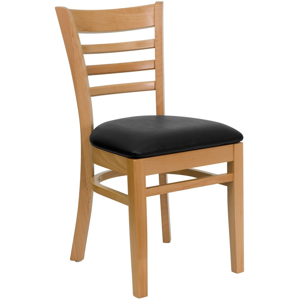 Ladder Back Natural Wood Chair with Black Vinyl Seat