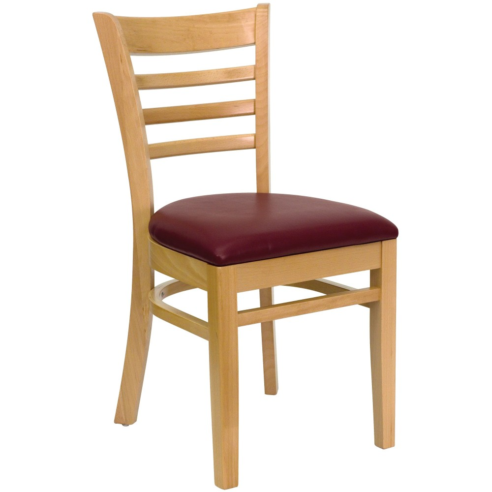 Ladder Back Natural Wood Chair with Burgundy Vinyl Seat