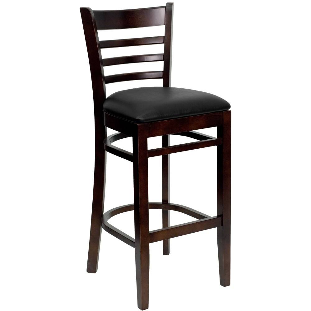 flash furniture xu dgw0005barlad wal blkv gg ladder back walnut wood bar stool with black vinyl. Black Bedroom Furniture Sets. Home Design Ideas
