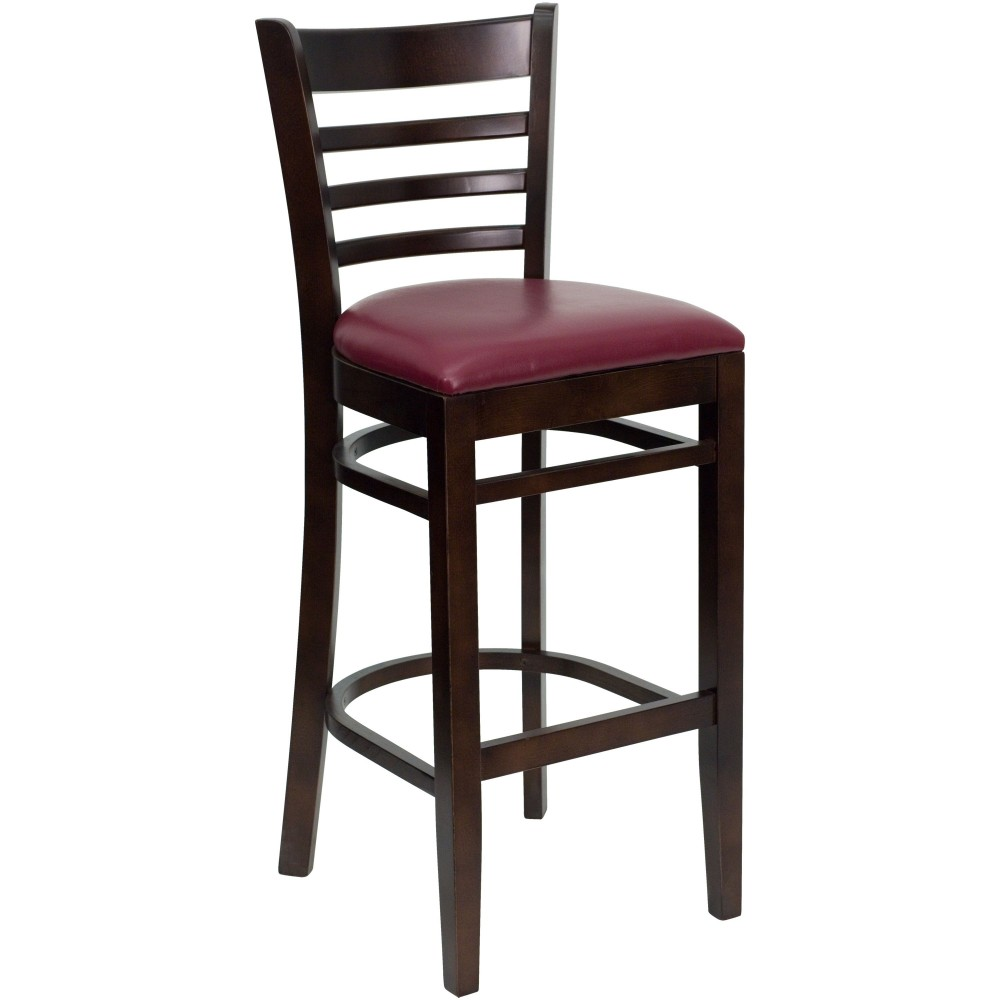 Flash Furniture xu-dgw0005barlad-wal-burv-gg Ladder Back Walnut Wood Bar Stool with Burgundy Vinyl Seat