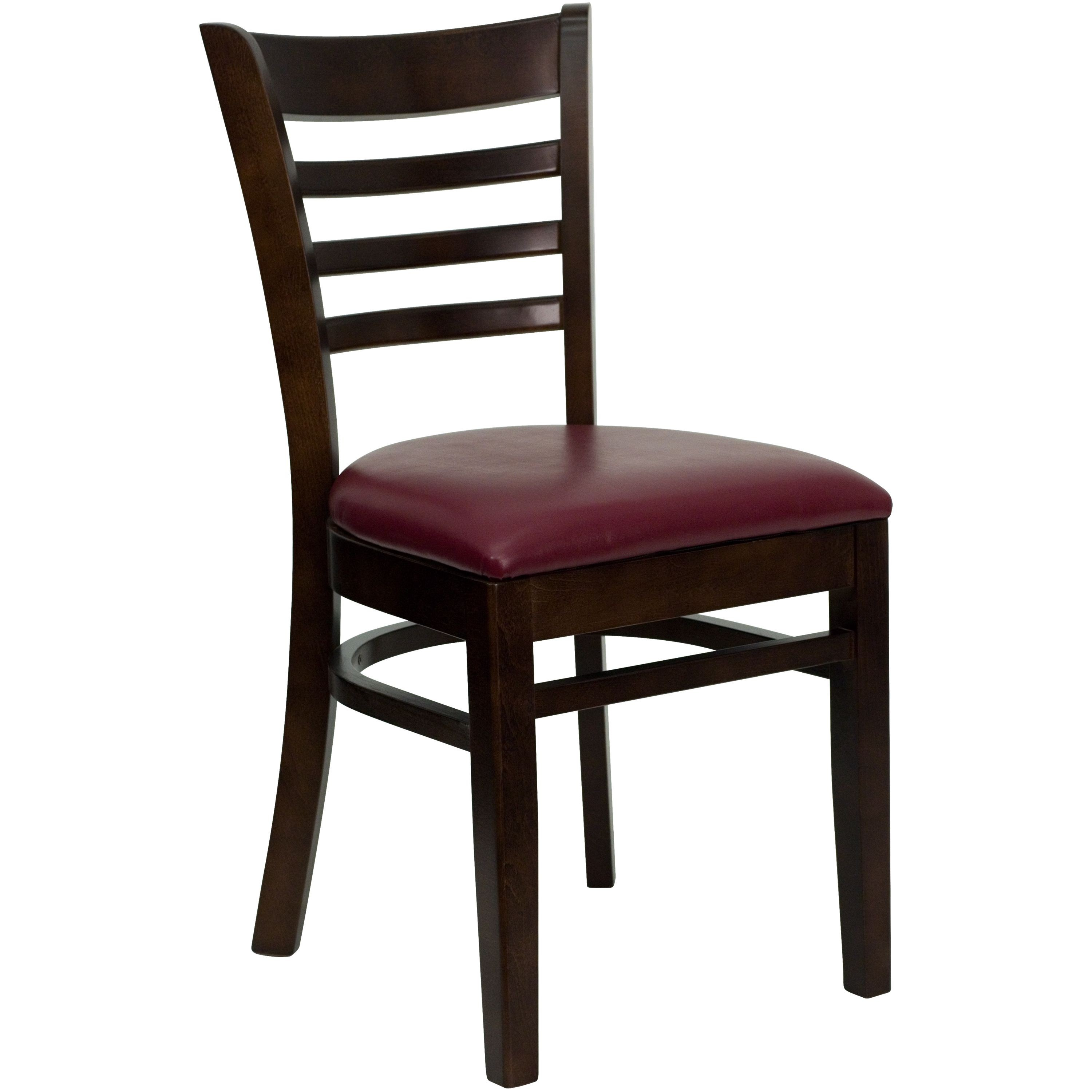 Ladder Back Walnut Wood Chair with Burgundy Vinyl Seat
