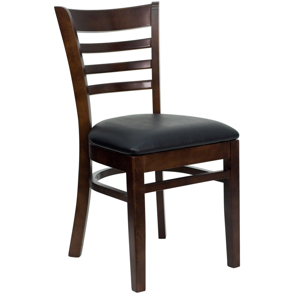 Ladder Back Walnut Wood Chair with Black Vinyl Seat