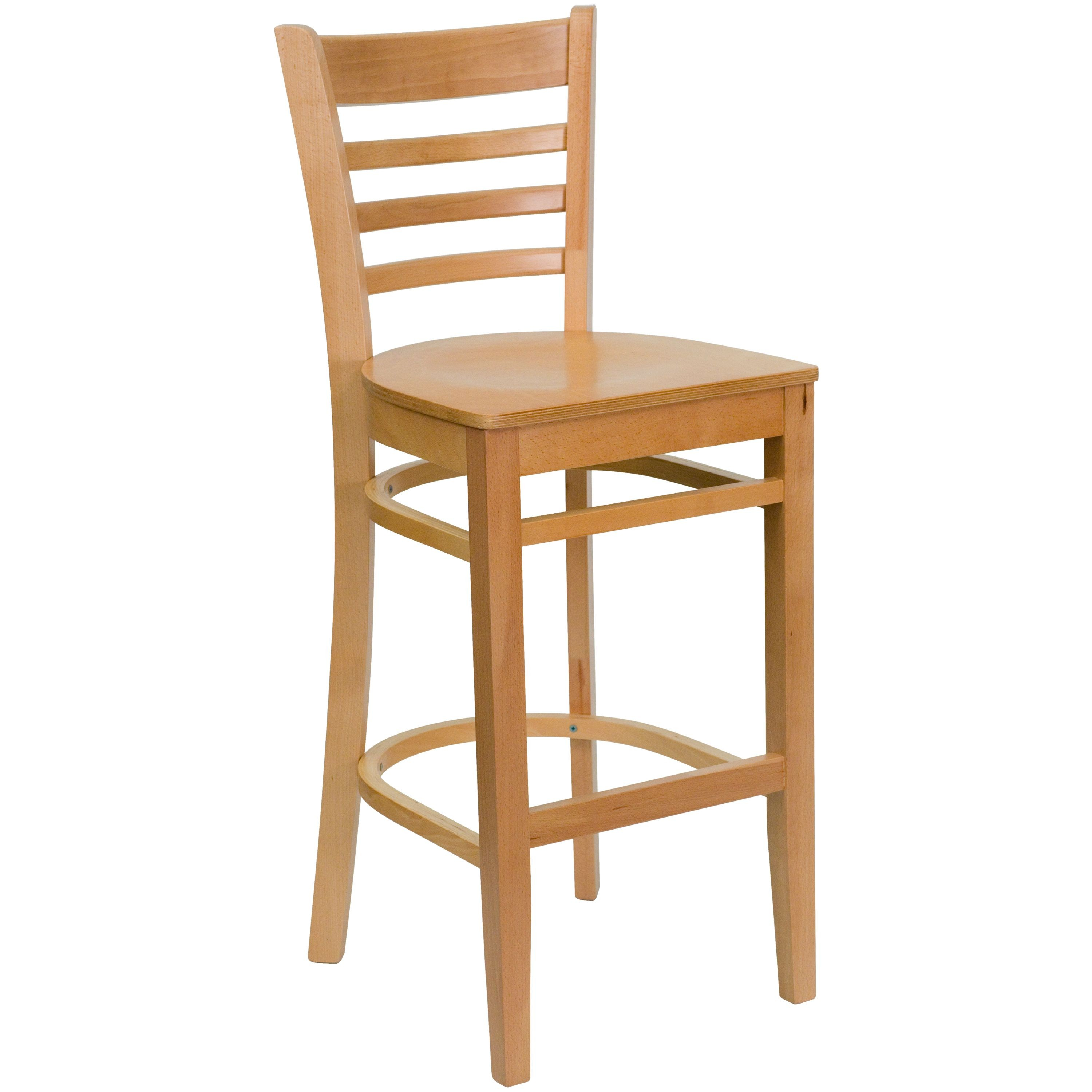 Flash Furniture XU-DGW0005BARLAD-NAT-GG Ladder Back Wood Bar Stool with Natural Finish