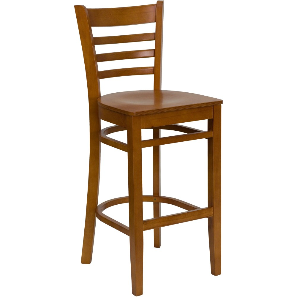 Flash Furniture XU-DGW0005BARLAD-CHY-GG Ladder Back Wood Bar Stool with Cherry Finish