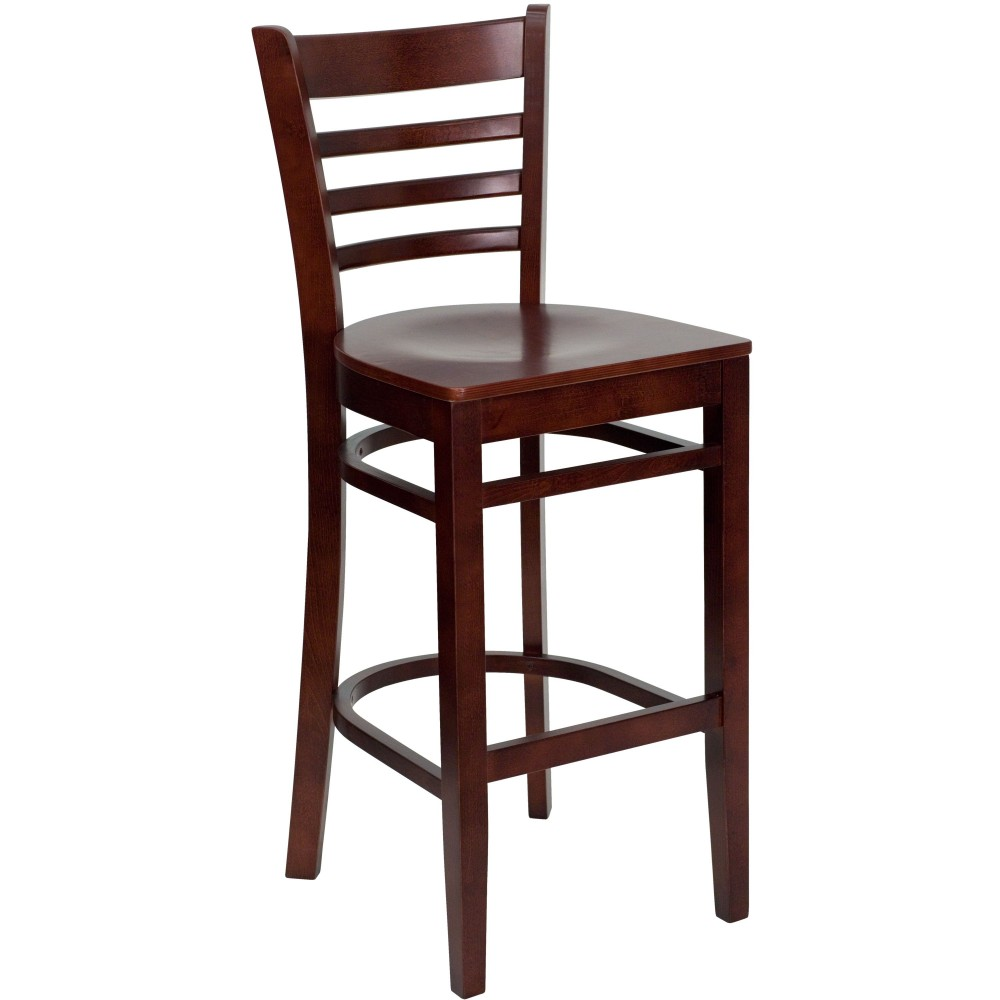 Ladder Back Wood Bar Stool with Mahogany Finish