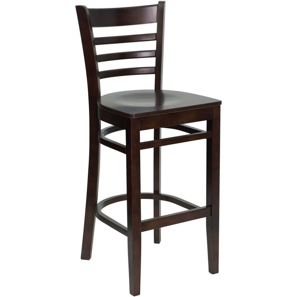 Ladder Back Wood Bar Stool with Walnut Finish