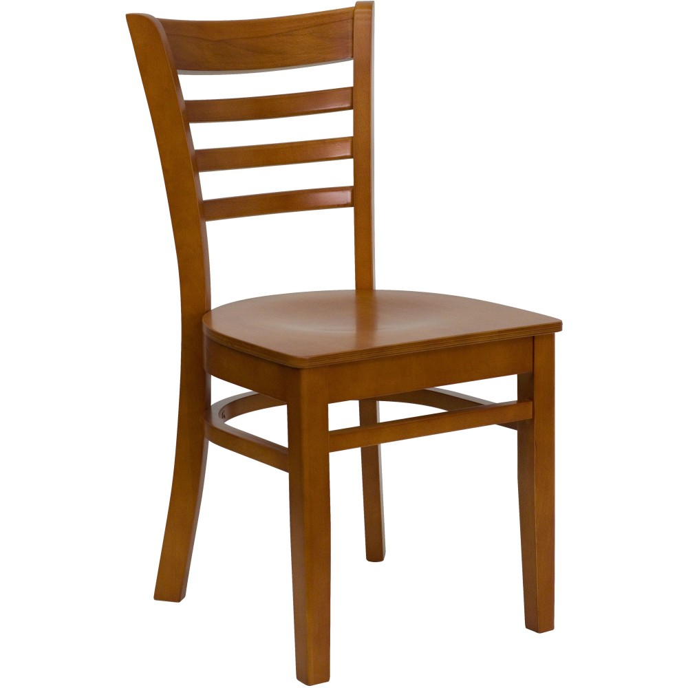 Ladder Back Wood Chair with Cherry Finish