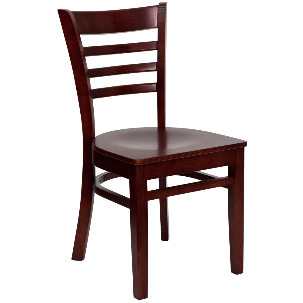 Flash Furniture xu-dgw0005lad-mah-gg Ladder Back Wood Chair with Mahogany Finish