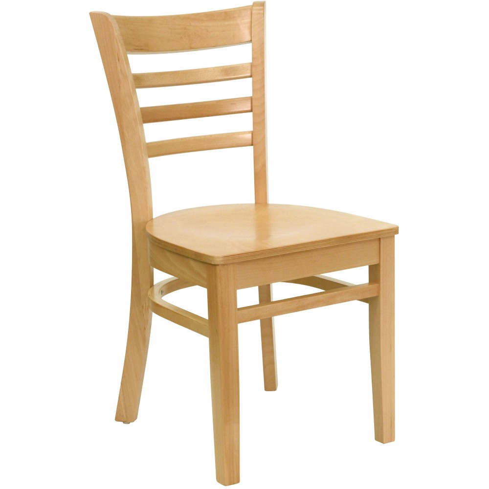 Ladder Back Wood Chair with Natural Finish