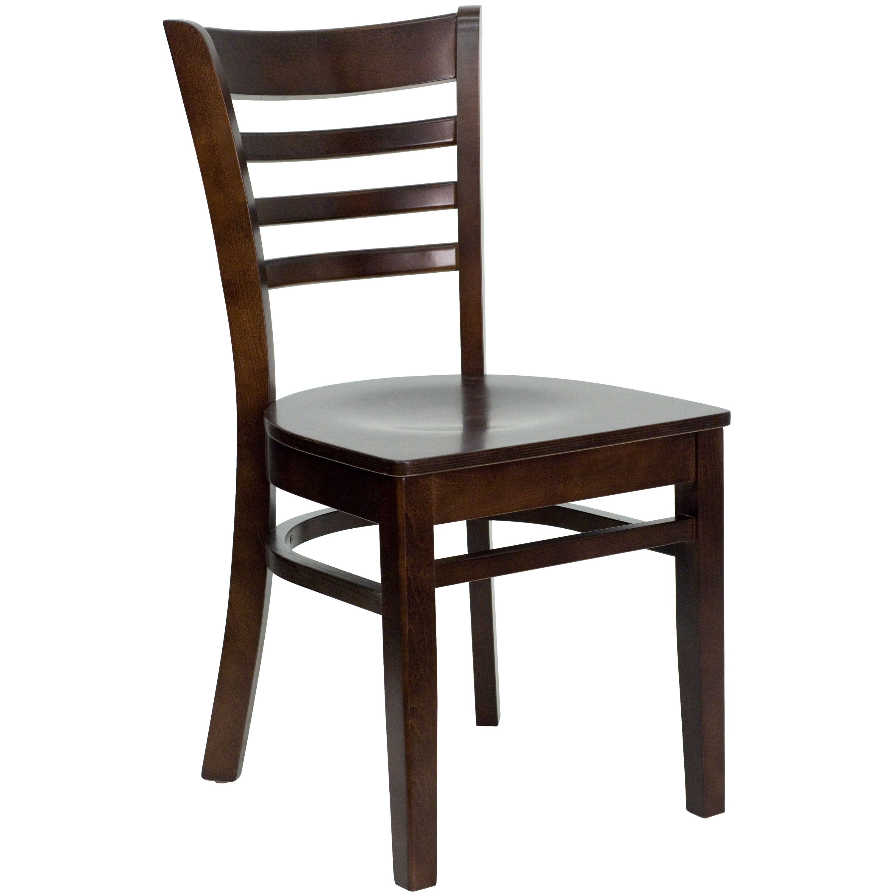 Flash Furniture XU-DGW0005LAD-WAL-GG Ladder Back Wood Chair with Walnut Finish