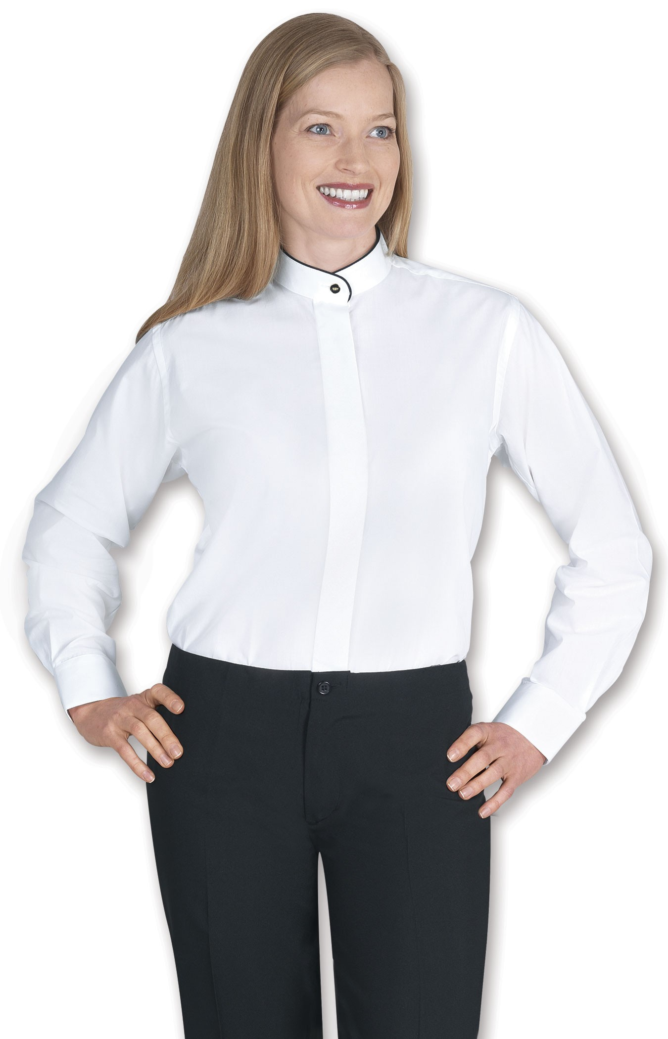 Ladies Banded Collar White Dress Shirt