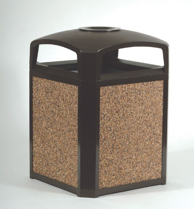 Landmark Series Classic Dome Top Container w/Ashtray, Plastic, 50 gal, Sable