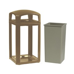 Landmark Series Classic Dome Top Container, Plastic, 50 gal, Driftwood