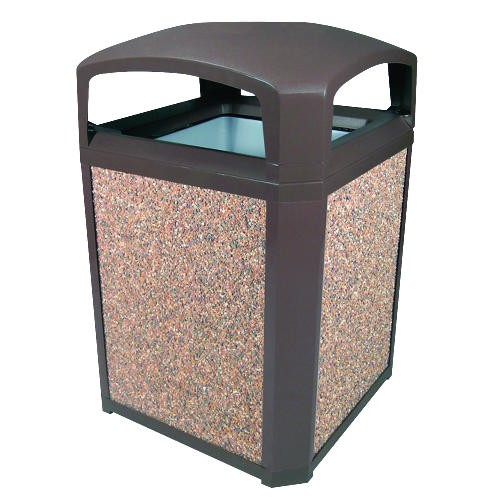Landmark Serious Aggregate Panels, River Rock, 50 Gallon Trash Container