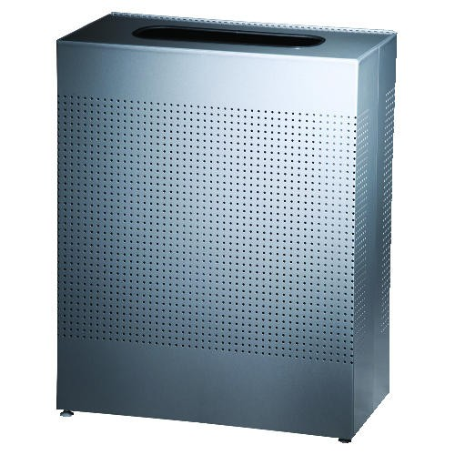 Large Rectangular Waste Receptacle, Silver Metallic