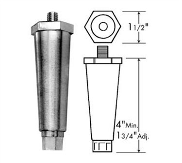 Franklin Machine Products  119-1016 Leg (3/8-16, 4H, Plst, Gry )