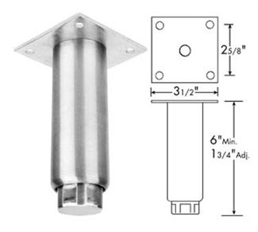 Franklin Machine Products  119-1085 Stainless Steel Leg with Removable Mounting Plate