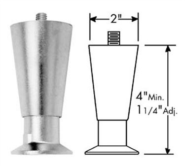 Franklin Machine Products  119-1082 Leg, Flanged (3/8-16, 4, Blk Leg )