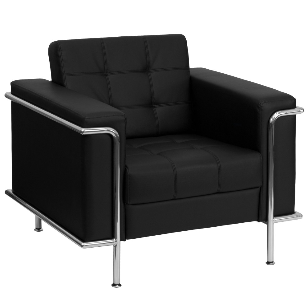 Lesley Series Contemporary Black Leather Chair with Encasing Frame