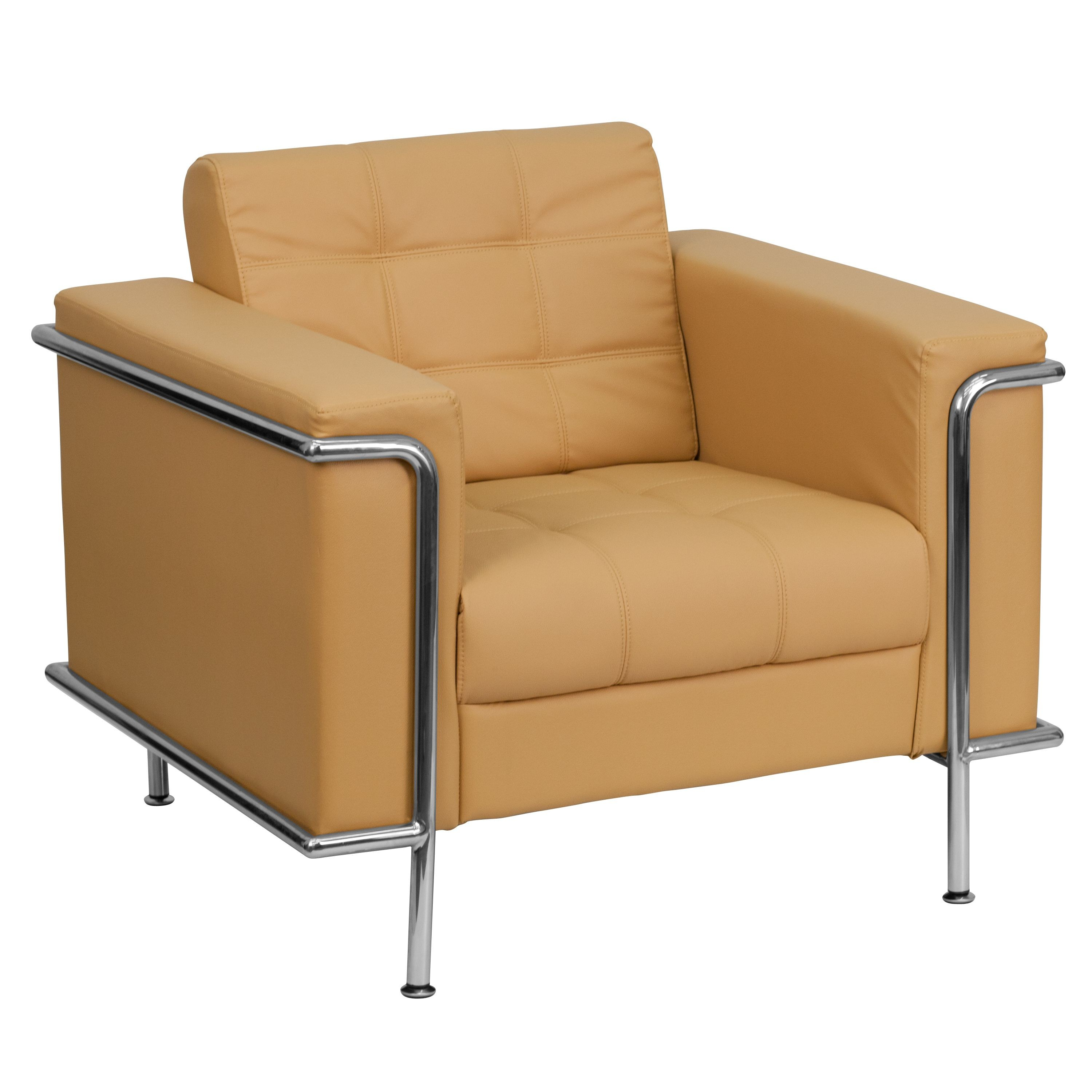 Lesley Series Contemporary Light Brown Leather Chair with Encasing Frame