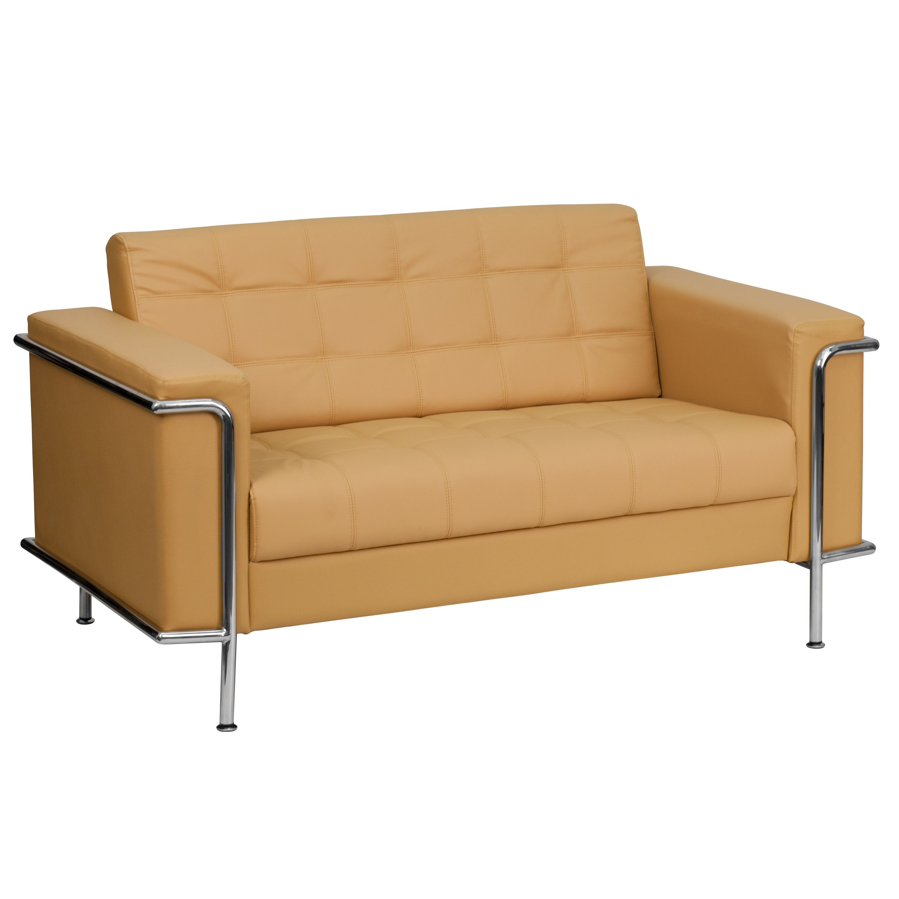 Lesley Series Contemporary Light Brown Leather Love Seat with Encasing Frame